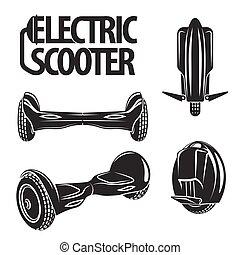 colección, eléctrico, aislado, chalkboard., dibujado, línea, style., rueda, patinetas, hoverboard, mono, arte, gráfico