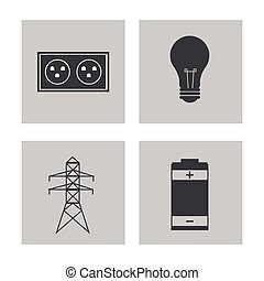 colección, electricidad, potencia, energía, iconos