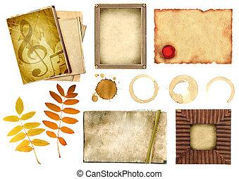 colección, elementos, para, scrapbooking