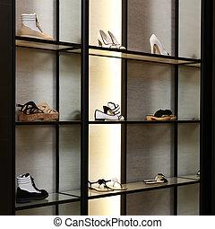 colección, grande, brillante, lujo, nuevo, tienda, zapato