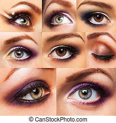 colección, hermoso, womanish, ojo, con, encantador, maquillaje