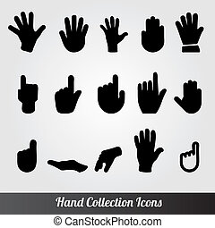 colección, icono, vector, mano humana