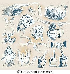 colección, manos