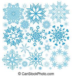 colección, navidad, copos de nieve, ilustración