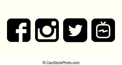 colección, papel, popular, impreso, negro, logotipos, blanco, medios, social
