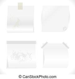 colección, papeles, blanco