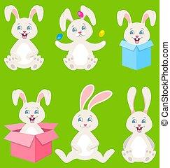 colección, pascua feliz, conejitos, con, huevos, cajas del regalo, lindo, conejos