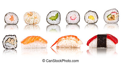 colección, pedazos, plano de fondo, aislado, sushi, blanco