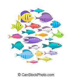 Colección, pez, caricatura, Plano de fondo