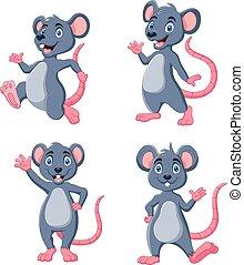 colección, ratón, ondulación, caricatura, conjunto, divertido