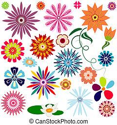 colección, resumen, flores, (vector