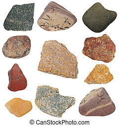 colección, rocas, aislado, blanco