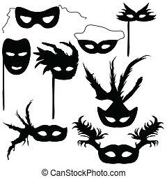 colección, siluetas, carnaval, máscaras