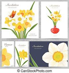 colección, tarjetas de felicitación, con, flores del resorte, para, su, diseño