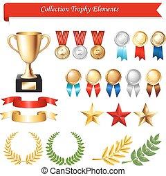 colección, trofeo, elementos