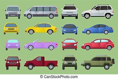 colección, types., cima, multicolor, tráfico, objetos, automóvil, camión, ciudad, sedán, modelo, campista, símbolo, automotor, lado, frente, tipos, supercar., coche, minivan, vista, iconos, conjunto, diferente, rueda