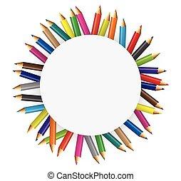 colecciones, de, color, lápices