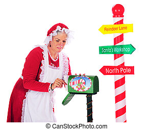 colecionar, correio, Santa