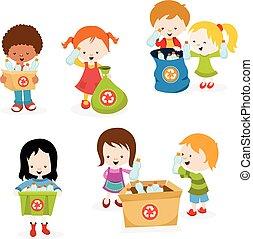 colecionar, crianças, garrafas, plástico