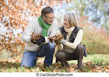 colecionar, outono, par velho, folhas