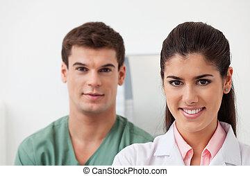 colega, estar, médico feminino