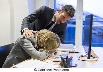 colega, mujer de negocios, depresivo, el suyo, oficina