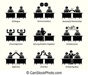 colega, y, socios de negocio, trabajo junto, eficientemente, en, lugar de trabajo, oficina.