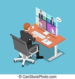 colegas, conferencia, hablar, el suyo, vídeo, isométrico, hombre de negocios