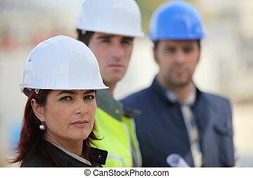colegas, construcción, arquitecto, sitio, tres