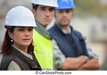 colegas, construcción, tres