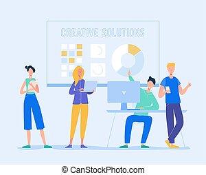 colegas, discusión, poniendo común, concept., empresa / negocio, vector, mujer, trabajo en equipo, idea., laptop., el comunicarse, reunión, ilustración, caracteres, creativo, hombre de negocios