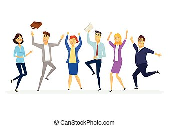 colegas, empresarios, moderno, -, aislado, ilustración, ...