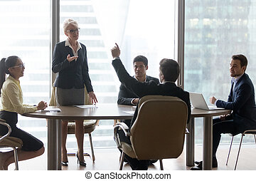 colegas, escritório, negócio, diverso, reunião, brainstorm