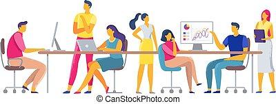 colegas, escritório, trabalhando, trabalhadores, espaço, junto, workplace., coworking, vetorial, ilustração, coworkers, equipe, negócio