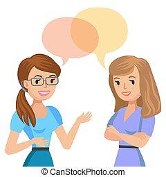 colegas, hablar., illustration., joven, dos, vector, friends., reunión, o, mujeres