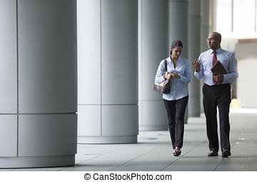colegas, negócio, escritório., andar, exterior, indianas, feliz