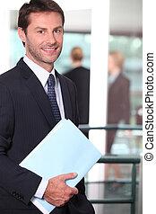 colegas, plano de fondo, foco, archivo, tenencia, hombre de negocios, afuera