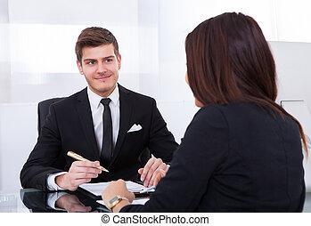 colegas, reunión, empresa / negocio