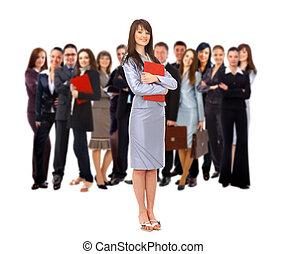 colegas, seu, grupo, maduras, negócio, visionário, -, jovem, fundo, homem