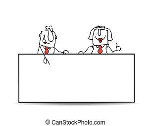 colegas, signboard, dos, empresa / negocio