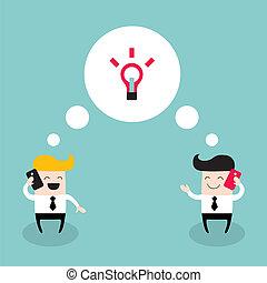 colegas, sucesso, negócio, falando, colaboração, dois,...