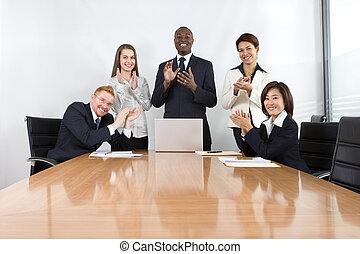 colegas trabalho, em, reunião negócio