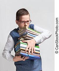 colegial, en, anteojos, con, libros