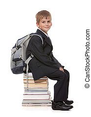 colegial, libros, sentado