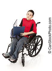 colegial, sílla de ruedas, adolescente