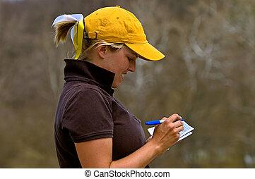 colegial, scorecard, golfer, somando