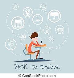 colegial, sentarse, escritorio de la escuela, resumen, educación, plano de fondo, concepto