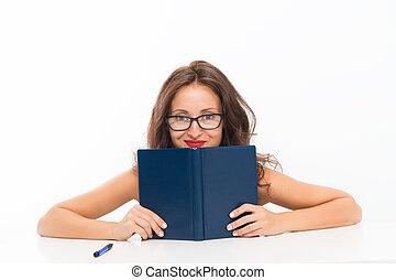 colegiala, atrás, coqueta, libro, o, girl., leer, trabajando...