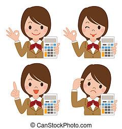 colegiala, con, un, calculadora