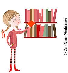 colegiala, en, el, biblioteca